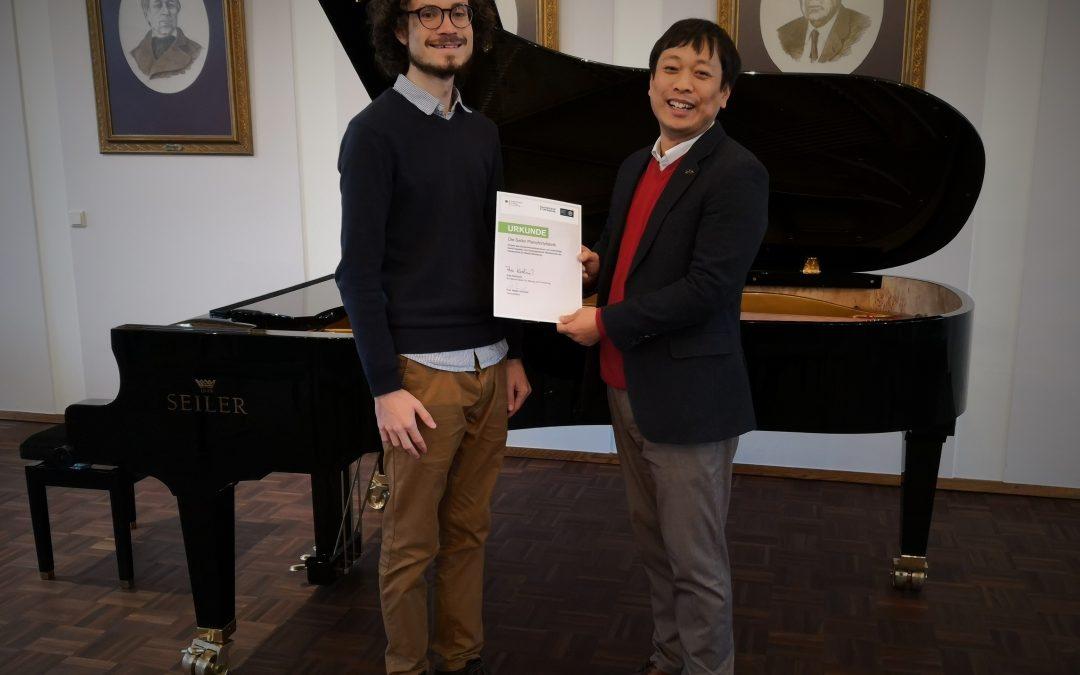 Joshua Rupley ist Stipendiat von Seiler Pianofortefabrik GmbH
